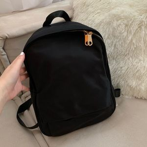 Handbags - Black Backpack with Gold Hardware